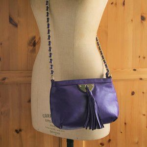 Guess by Marciano Purple Shoulder Purse Gold Chain